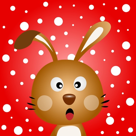 Brown rabbit with snowy background Vector
