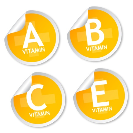 Vitamin A, B, C and E stickers
