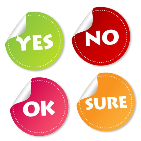 Yes, No, Ok and Sure stickers