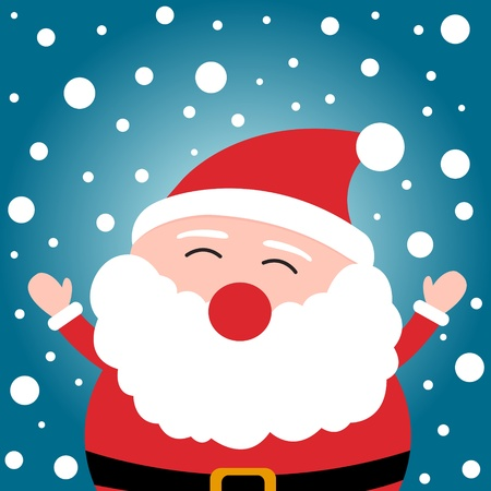 Happy christmas Santa Claus on snowy background