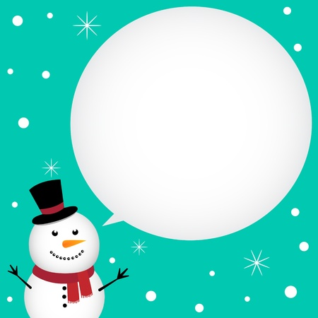 Christmas card with happy snowman Stock Vector - 11568433