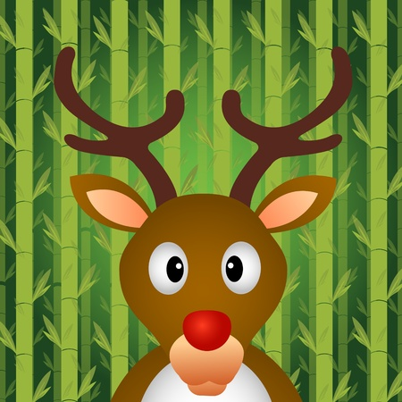 asia deer: Reindeer with bamboo background