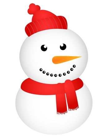 snowman background: Happy snowman on white background