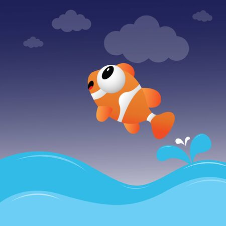 clownfish: Fish jumping out of the water Illustration
