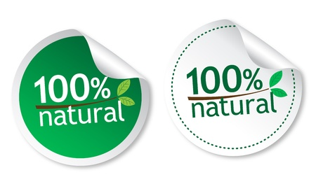 100% natural stickers Stock Vector - 11877400