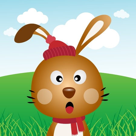 Brown rabbit in the forest Vector