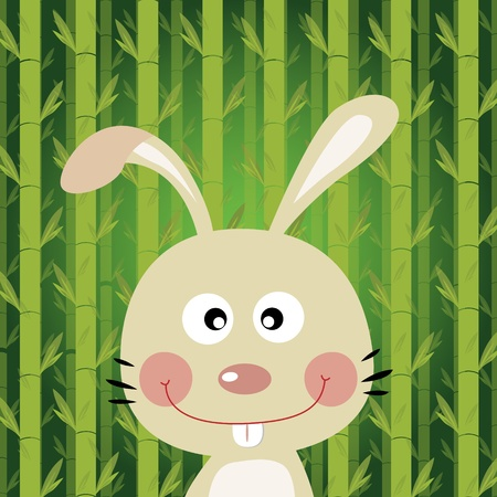 Rabbit with bamboo background Illustration