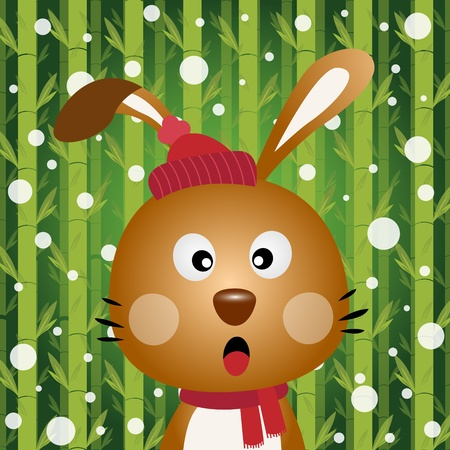 Brown rabbit and snow on bamboo background Vector
