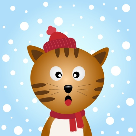 Cat with snowy background Vector