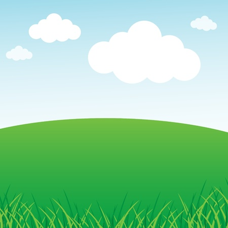 Grassy green field and blue sky Vectores