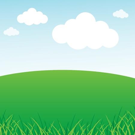 himmelsblå: Gräs- gröna fält och blå himmel