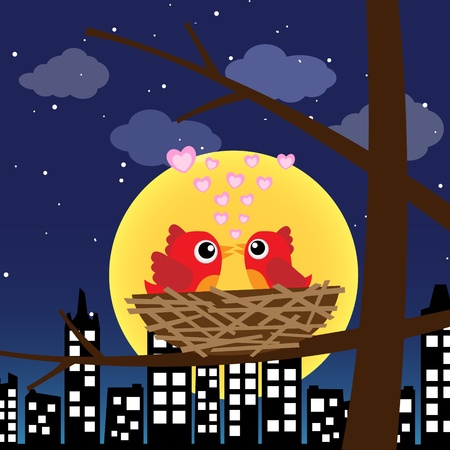 Birds in love at night Stock Vector - 12482611