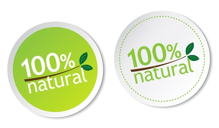 100% natural stickers Vector