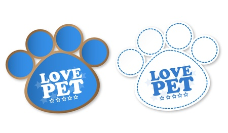Paw print stickers with text love pet and stars Stock Vector - 12482627