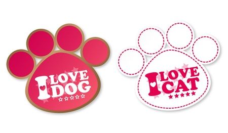 Paw print stickers with text I love pet and stars Vector