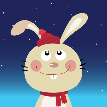 Cute rabbit in the night sky Vector