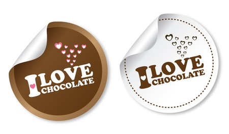 I love chocolate stickers Stock Vector - 12482641