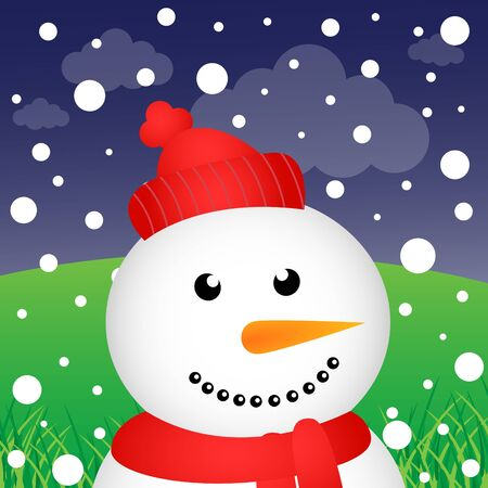 Snowman and snow in the forest Vector