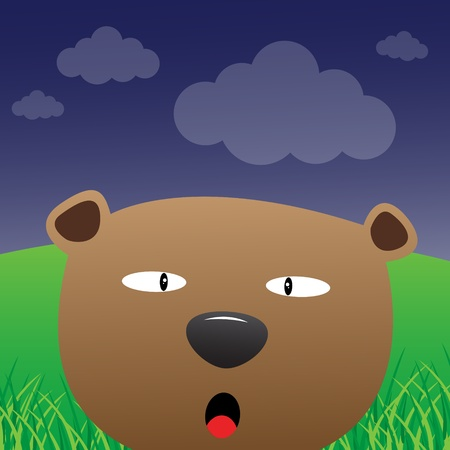 Cute bear in the forest Vector
