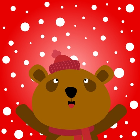 Brown bear and snowy background Illustration