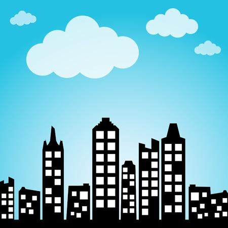 небоскребы: Городской фон Иллюстрация