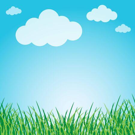 Grassy green field and blue sky Illustration