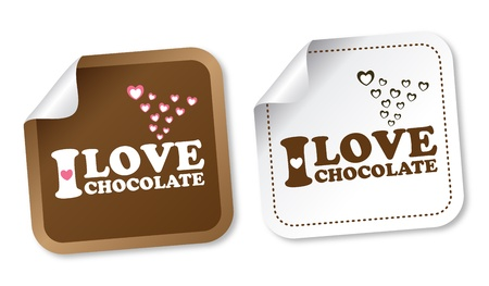 I love chocolate stickers Stock Vector - 12817258