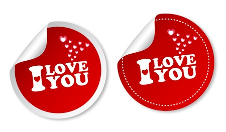 I love you stickers Stock Vector - 12817261