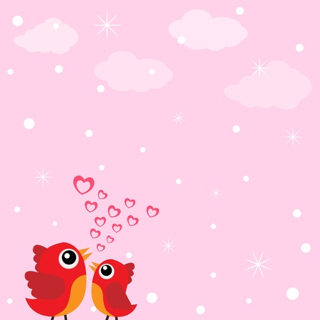 abstract love: Love bird with hearts