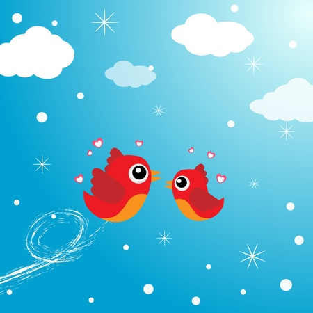 Birds in love flying around in the sky Stock Vector - 12817007