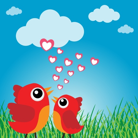 Love bird with hearts