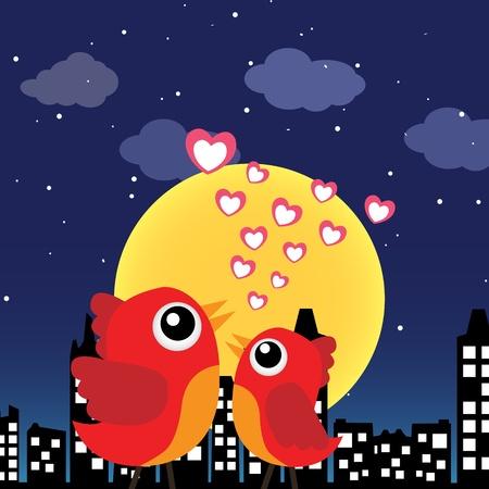 Aves en el amor en la noche