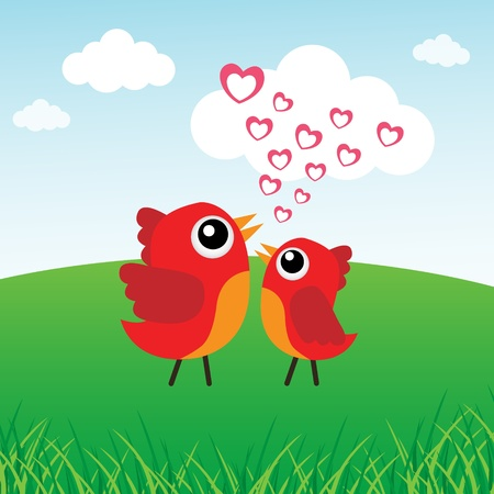 Love bird with hearts Stock Vector - 12816879
