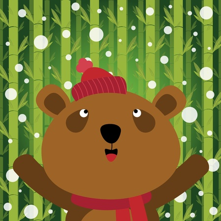 Bear and snow on bamboo background Vector