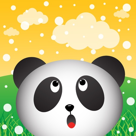 Panda with snow in the forest