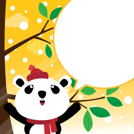 Panda speaking with a speech bubble Illustration