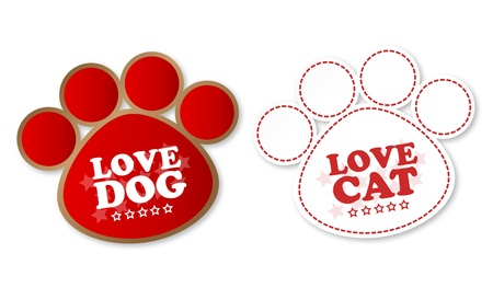 Paw print stickers with text love dog and love cat Stock Vector - 12817304