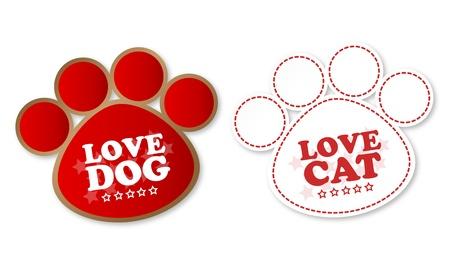 the first love: Pegatinas de la pata con el texto del perro y el gato amor amor