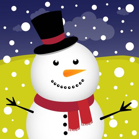 Snowman and snow in the forest Illustration