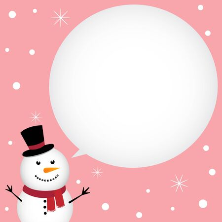 Christmas card with happy snowman Illustration