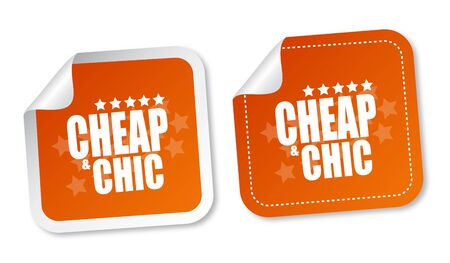 Cheap and Chic stickers Vector