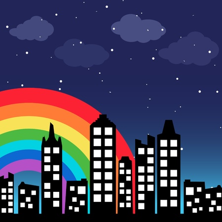rainbow scene: Cityscape background with rainbow Illustration