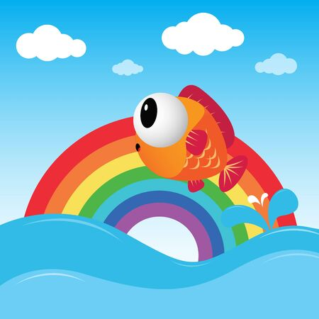 rainbow fish: Fish jumping out of the water with rainbow Illustration