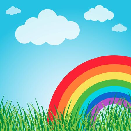 Summer landscape with rainbow Stock Vector - 13000233