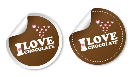 I love chocolate stickers Stock Vector - 13000277