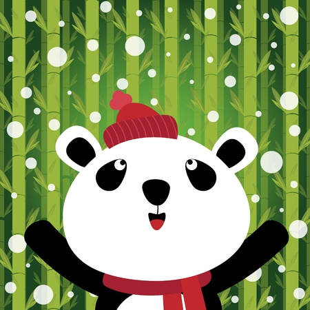 Panda and snow on bamboo background Vector
