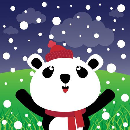 Panda with snow in the forest  Vector
