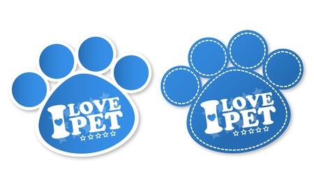 veterinary symbol: Paw print stickers with text I love pet and stars Illustration