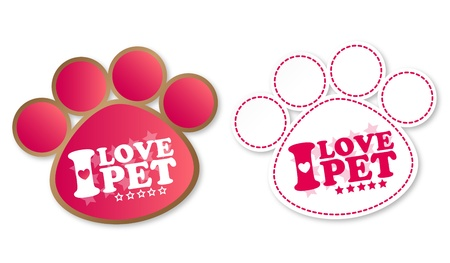Paw print stickers with text I love pet and stars Stock Vector - 13000288