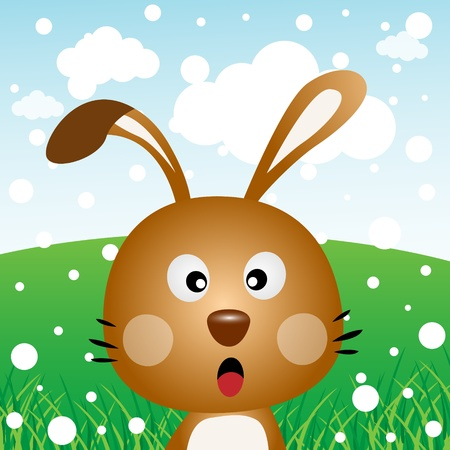 Brown rabbit with snow in the forest Vector